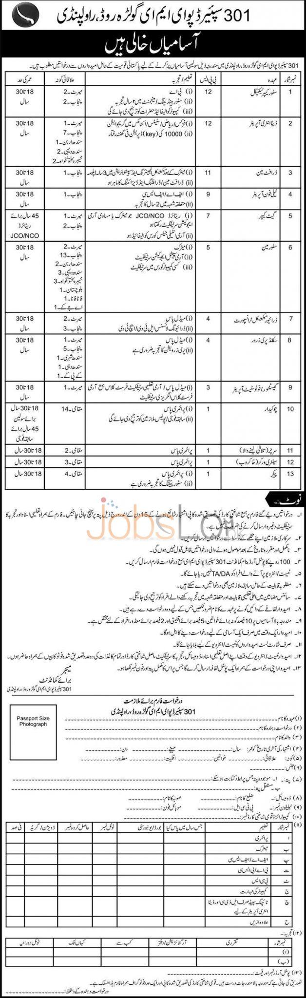 Pakistan Army 301 Spare Depot EME Rawalpindi Jobs 2015