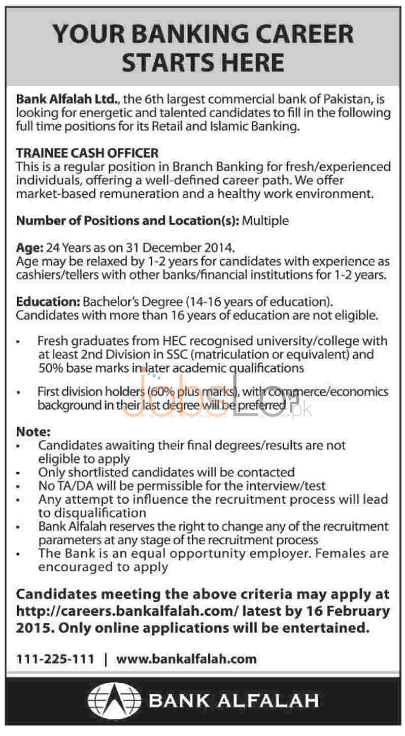 Bank Alfalah Ltd Jobs