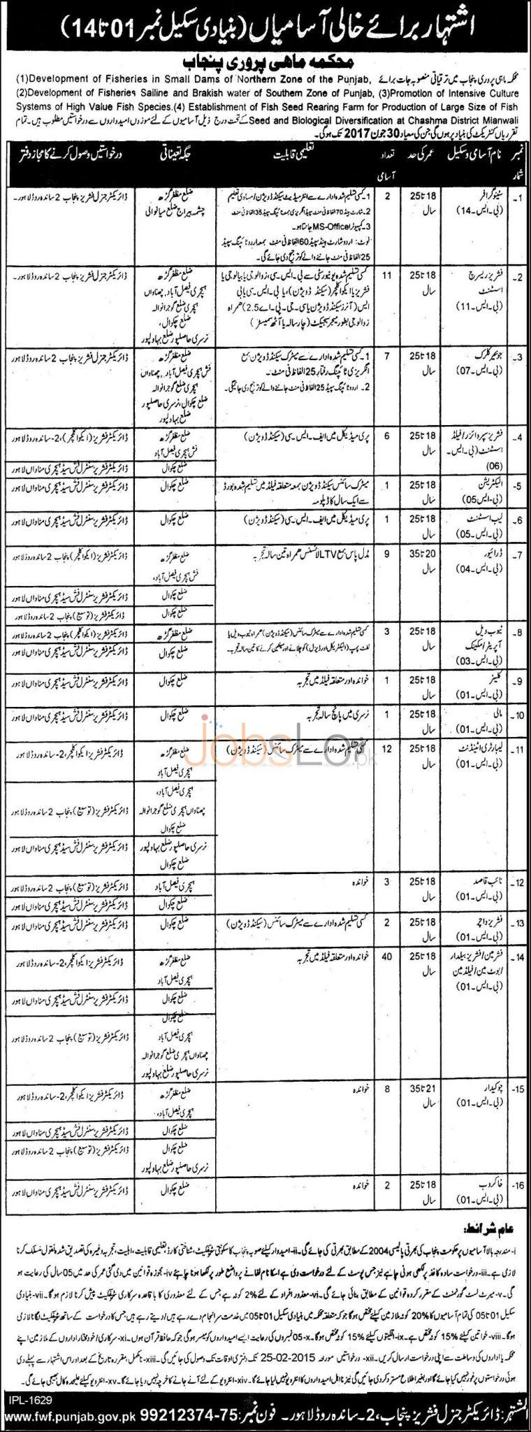 Fisheries Department Punjab Jobs 2015 Stenographer, Junior Clerk, Assistant