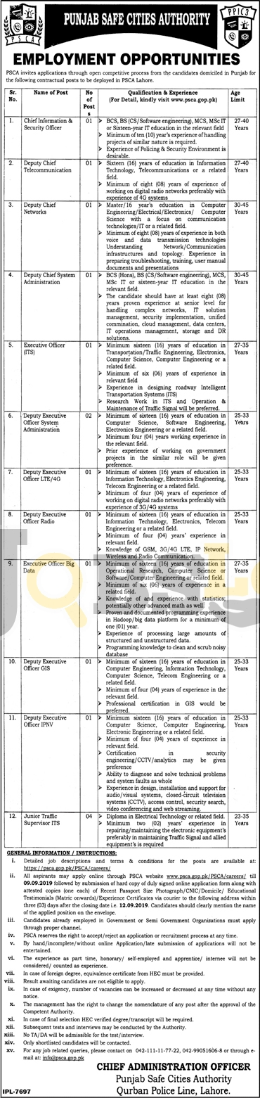 Punjab Safe Cities Authority PSCA Jobs 2019 Apply Online Current Openings