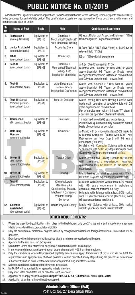 PO Box 27 DG Khan PAEC Jobs 2019 Atomic Energy Application Form Online