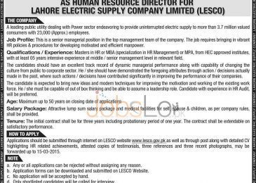 Lahore Electric Supply Company LESCO Wapda Jobs 2015 Govt of Pakistan