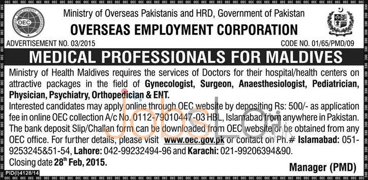 Overseas Employment Corporation OEC Pakistan Jobs