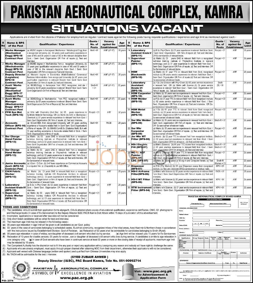 Pakistan Aeronautical Complex Jobs