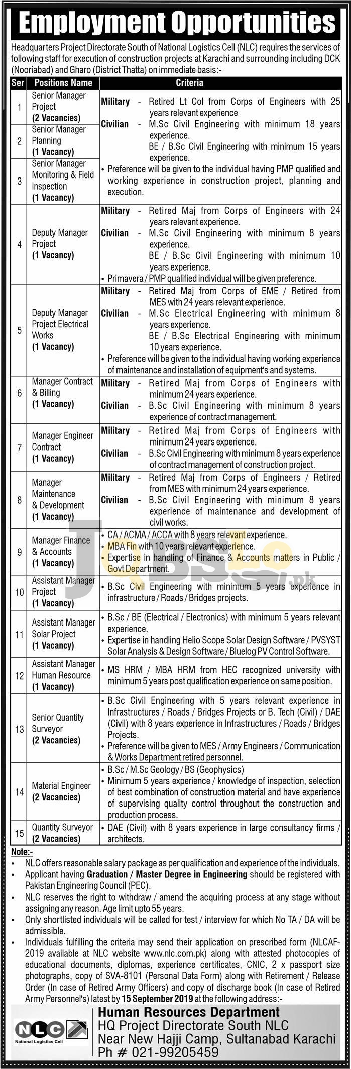 National Logistic Cell NLC Jobs 2019 Application Form Download Advertisement Latest