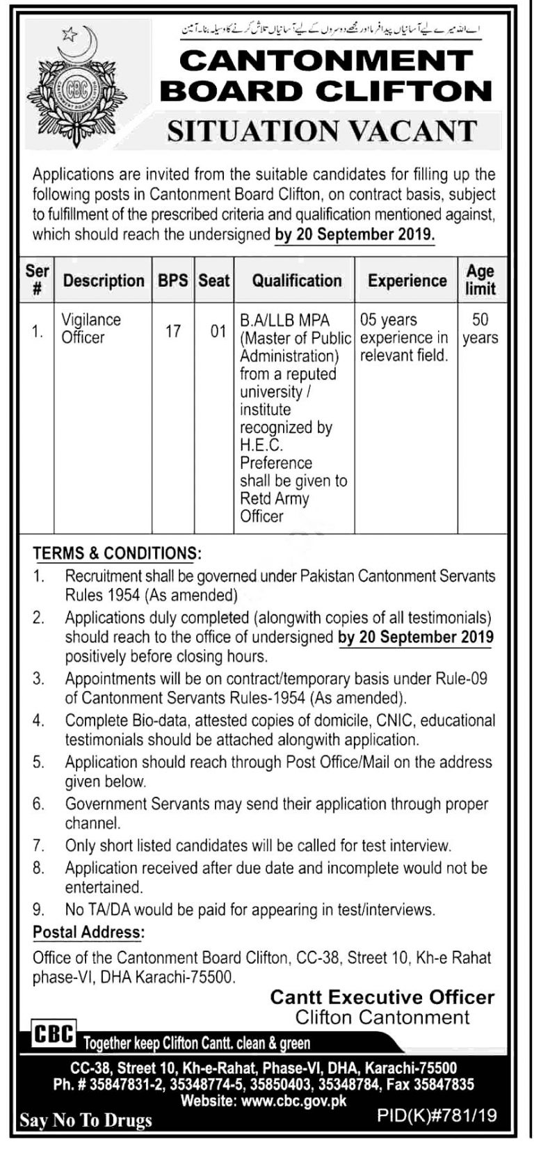 Cantonment Board Clifton Karachi CBC Jobs 2019 Latest www.cbc.gov.pk
