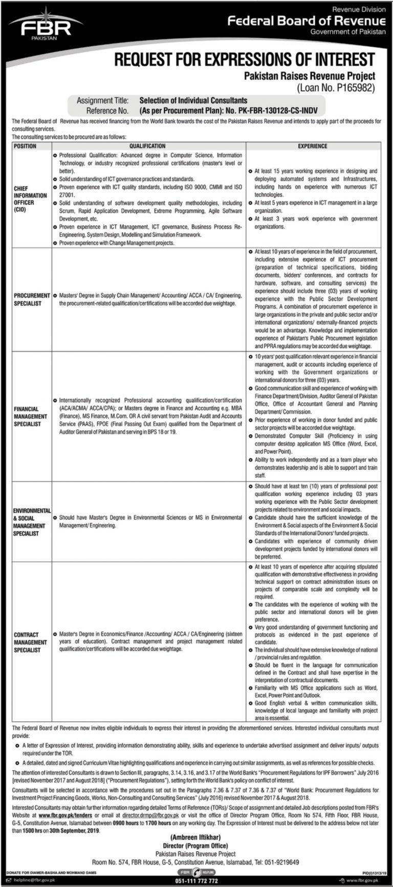 FBR Jobs Application Form 2019 Federal Board of Revenue Islamabad Latest