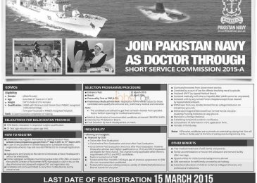 Join Pak Navy 2015 as Doctor Through SSC Online Registration & Eligibility Criteria