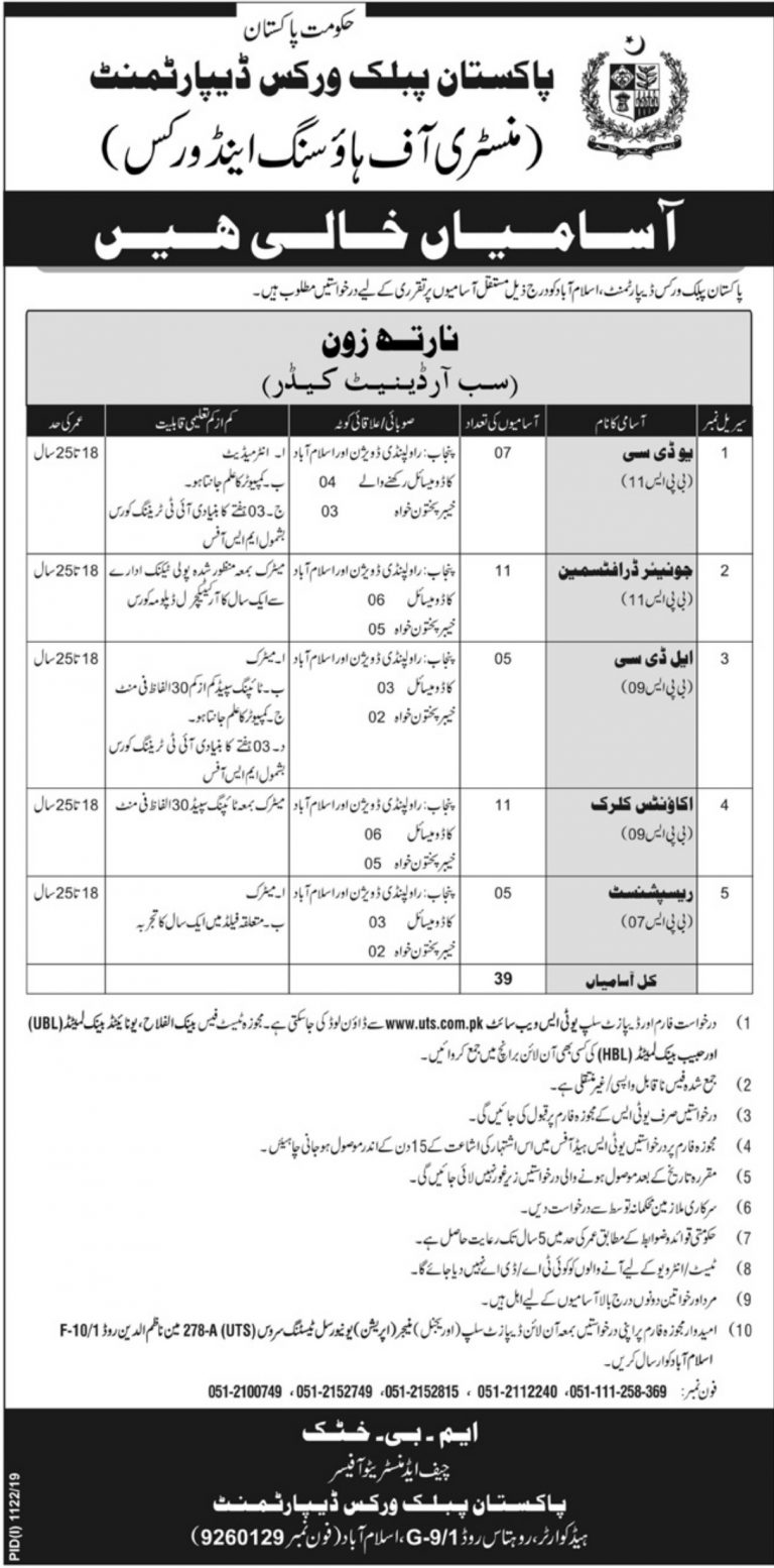 PWD Islamabad Jobs 2019 Pakistan Public Works Department UTS Application Form Latest