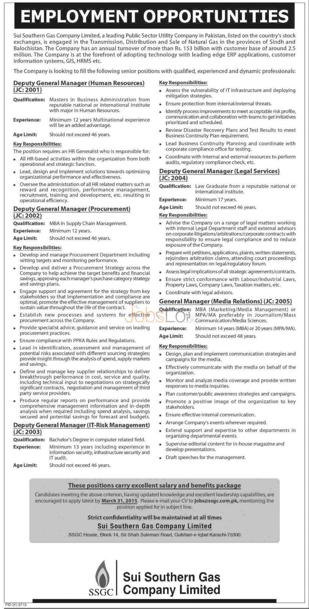 (SSGC) Sui Gas Jobs 2015 Career Opportunities Apply Online