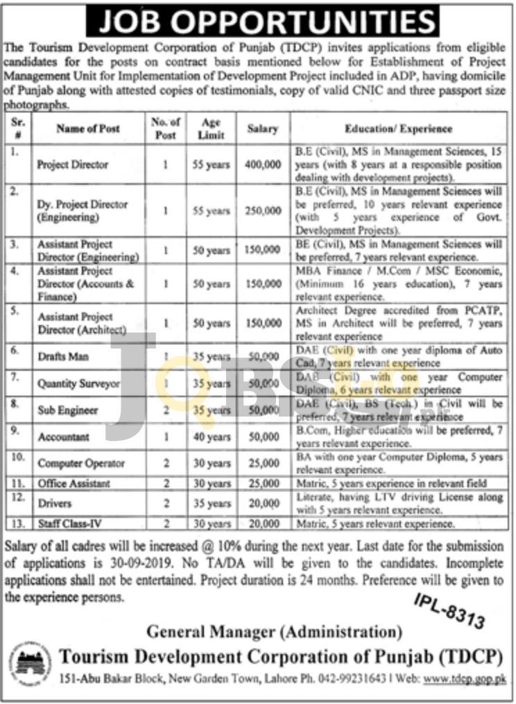 Tourism Development Corporation of Punjab TDCP Jobs 2019 Latest Advertisement