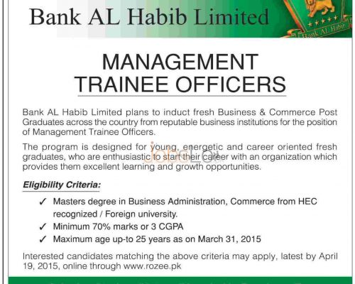Bank Al Habib MTO Jobs