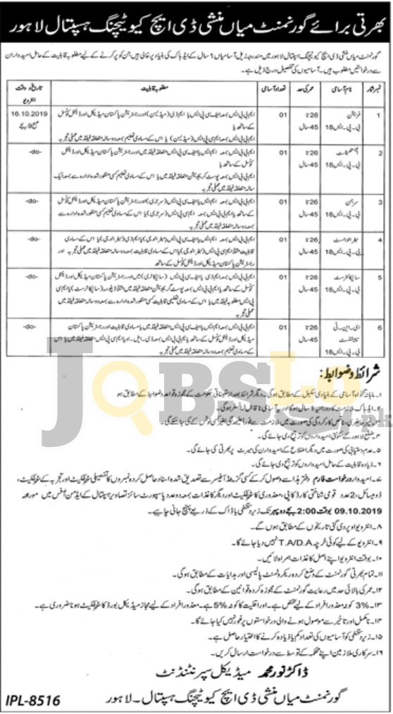 Govt Mian Munshi DHQ Teaching Hospital Jobs 2019 For Male and Female