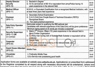 University of Engineering & Technology UET Taxila Jobs 2015 Application Form