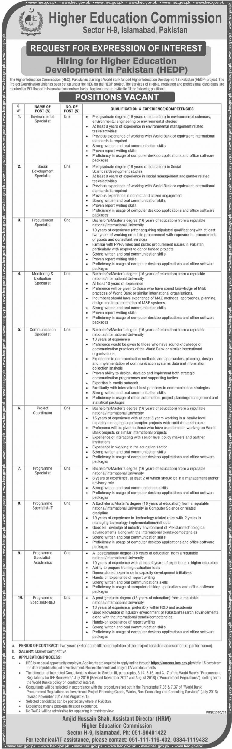 HEC Jobs 2019 Online Apply | Higher Education Commission Islamabad