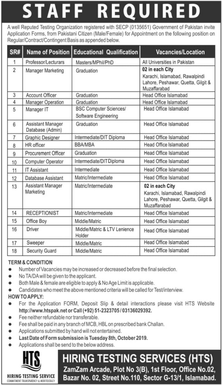 Hiring Testing Services HTS Jobs 2019 Pakistan Application Form Download Latest