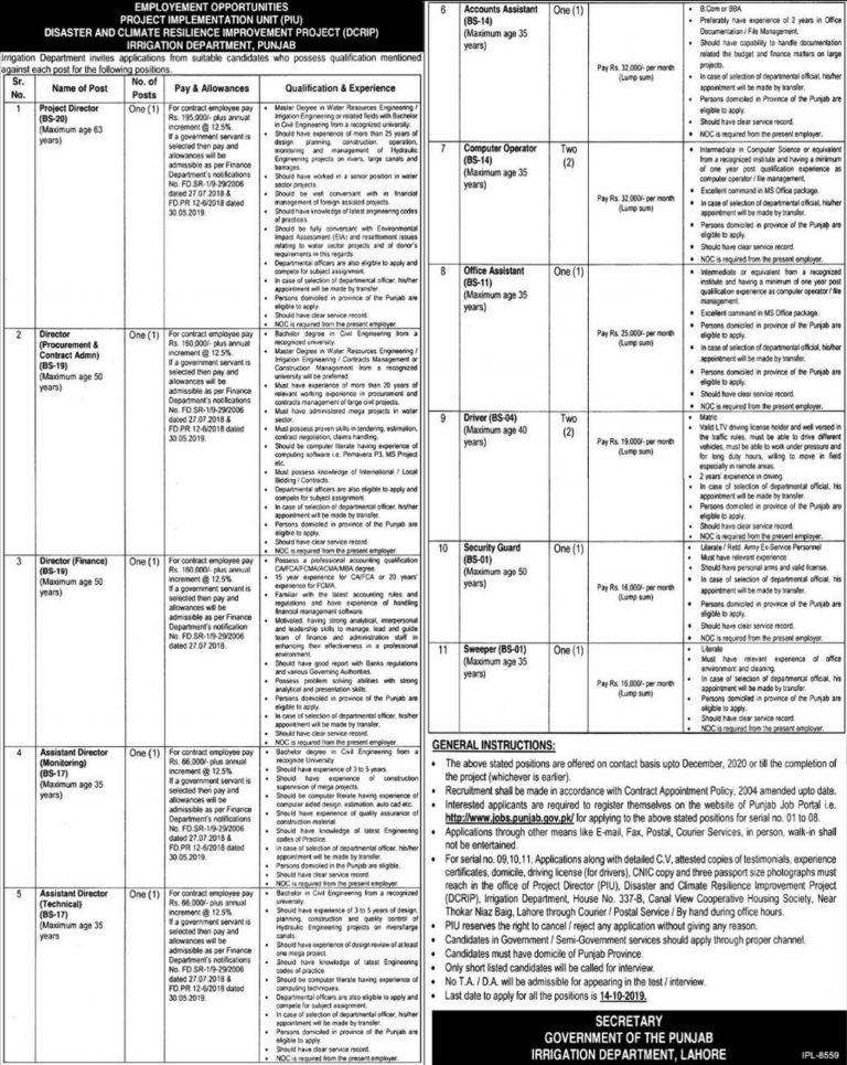 Irrigation Department Punjab Jobs 2019 Lahore Application Form Online Latest