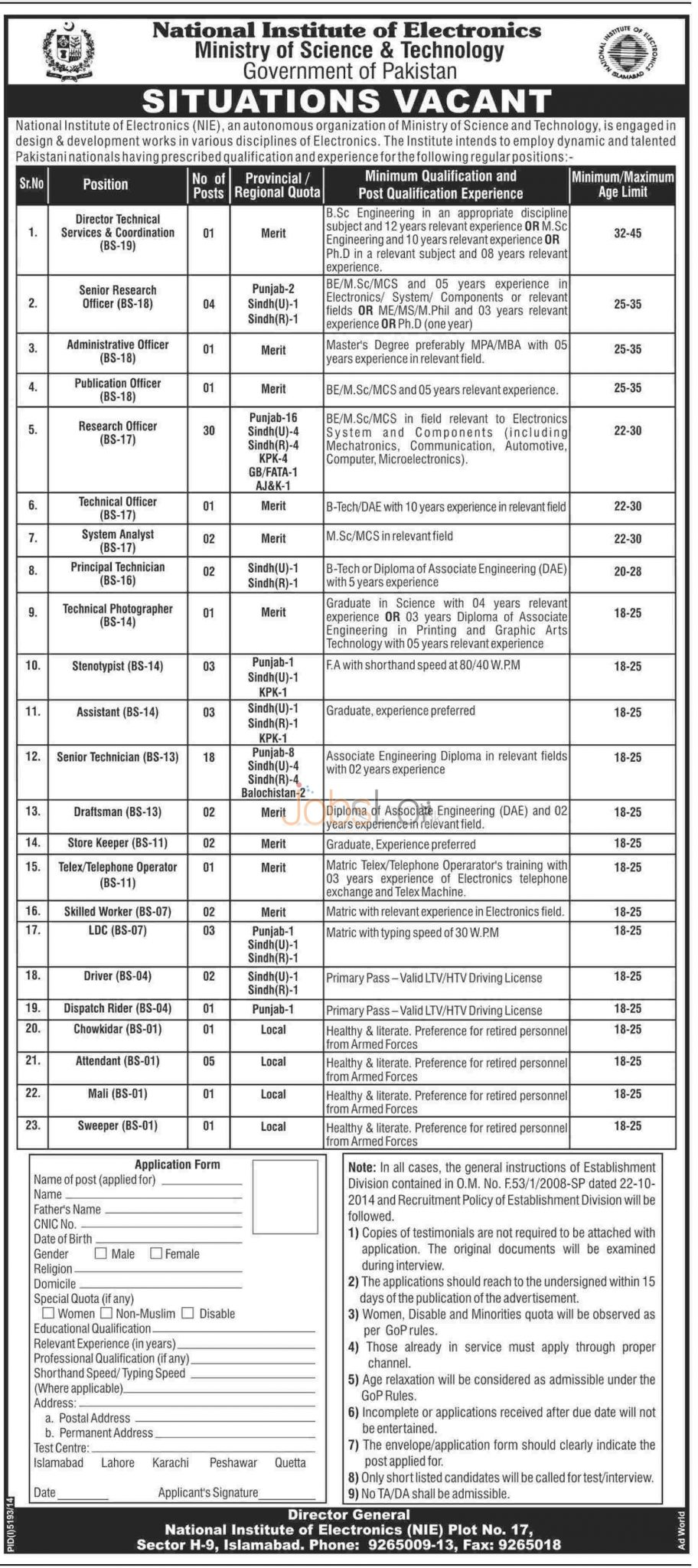 National Institute of Electronics (NIE) Islamabad Jobs 2015 Government of Pakistan