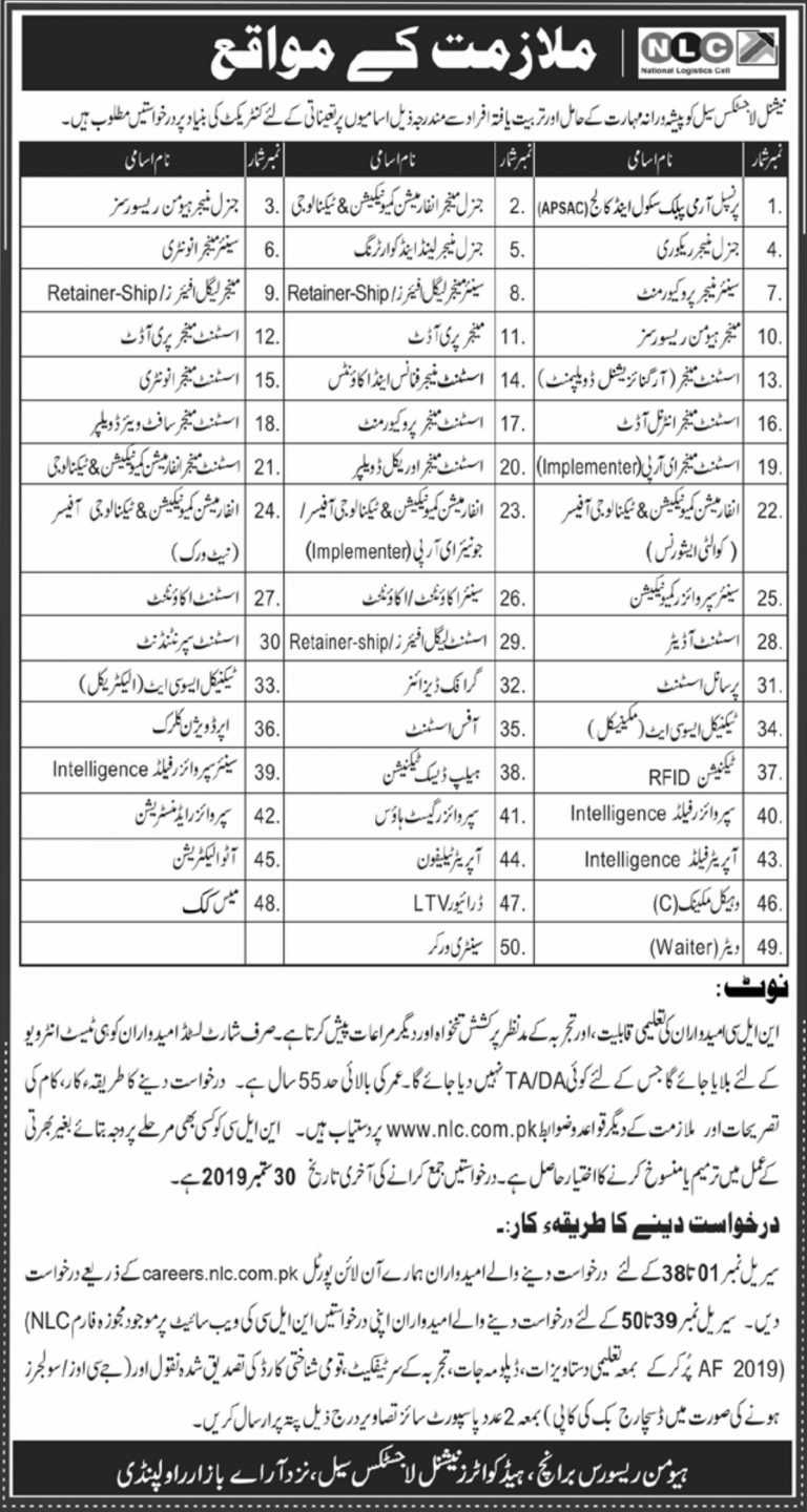 National Logistic Cell NLC Jobs 2019 Application Form Oline Advertisement Latest