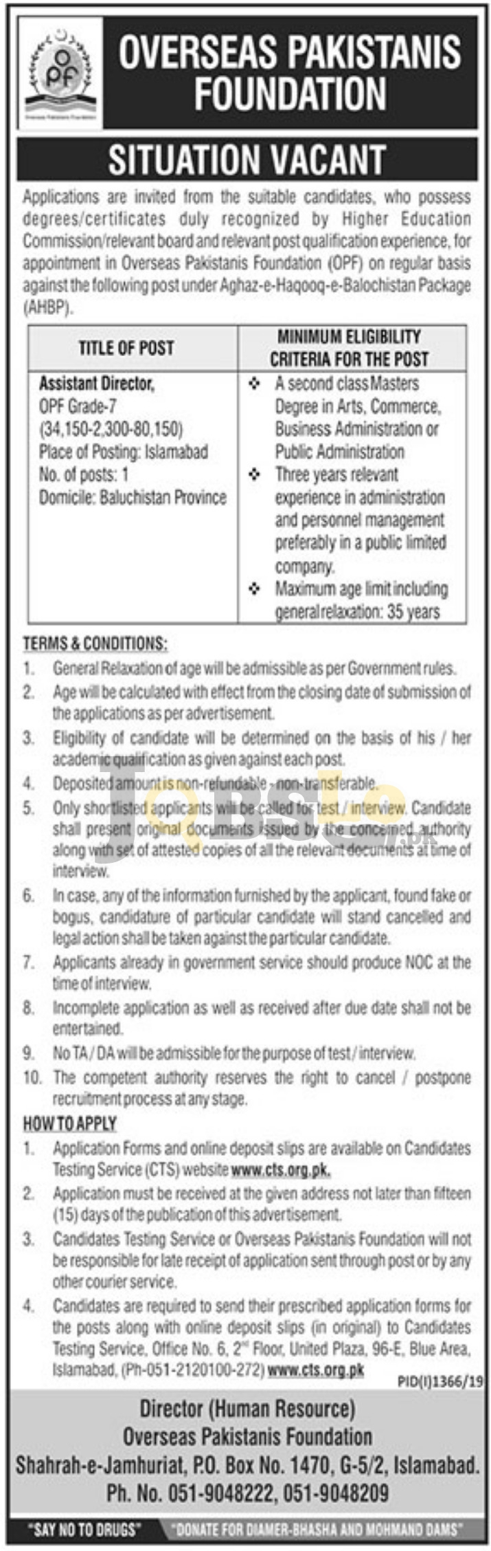 Overseas Pakistanis Foundation OPF Jobs 2019 CTS Application Form Download Latest