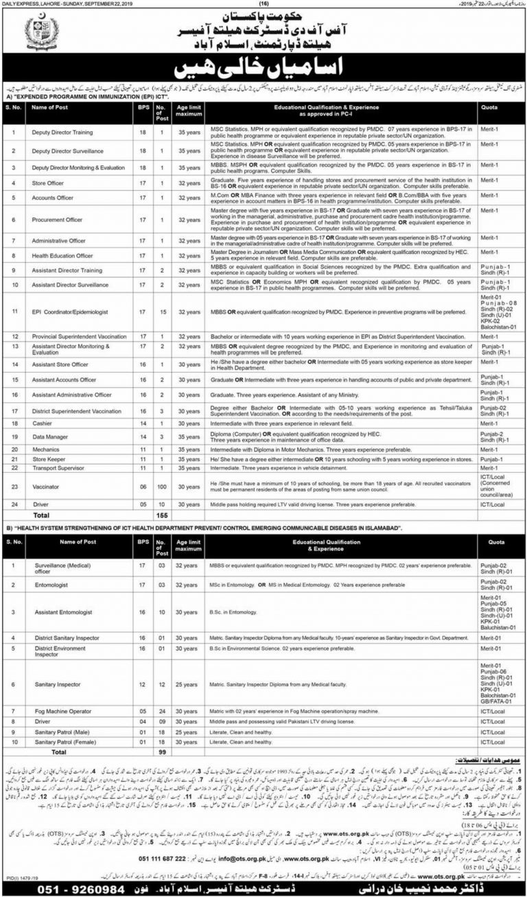 Health Department Jobs 2019 Islamabad OTS Application Form Download Latest