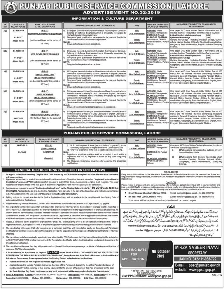 PPSC Jobs 2019 Online Apply Punjab Public Service Commission Latest Advertisement