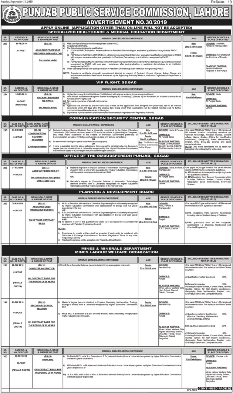 PPSC Jobs 2019 Online Apply | Punjab Public Service Commission Current Openings