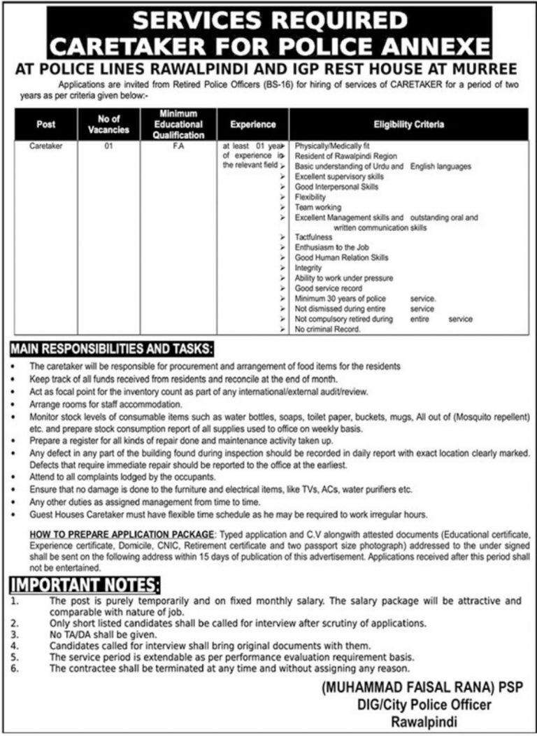 Punjab Police Rawalpindi Jobs 2019 Caretaker for Police Annexe