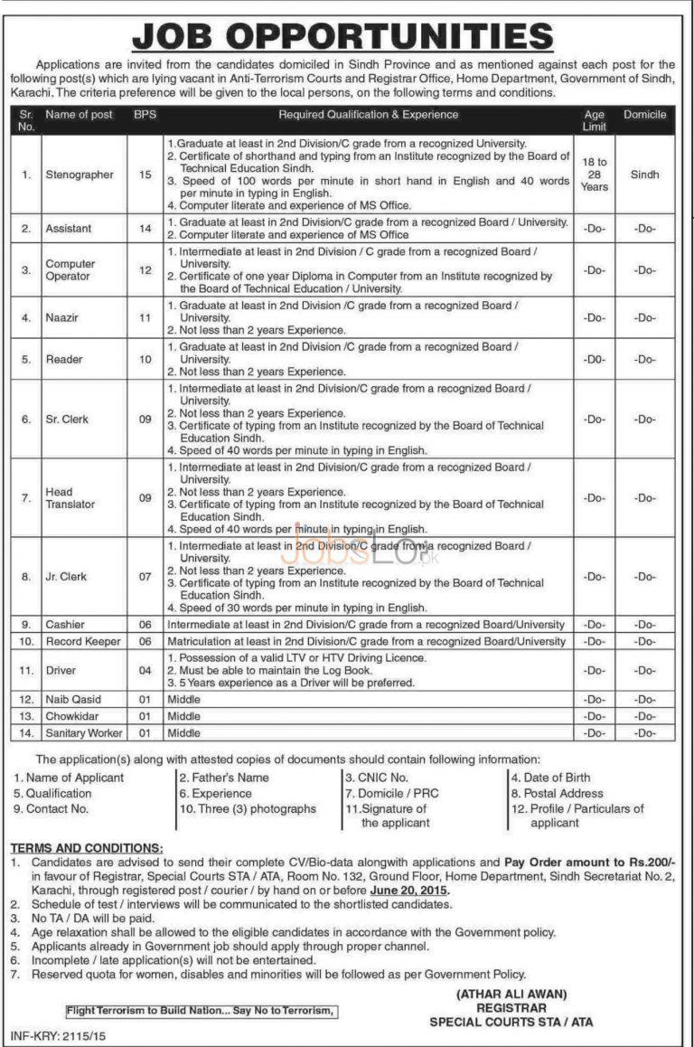 Govt of Sindh Anti Terrorism Court Karachi Jobs 2015 May 28 Advertisement