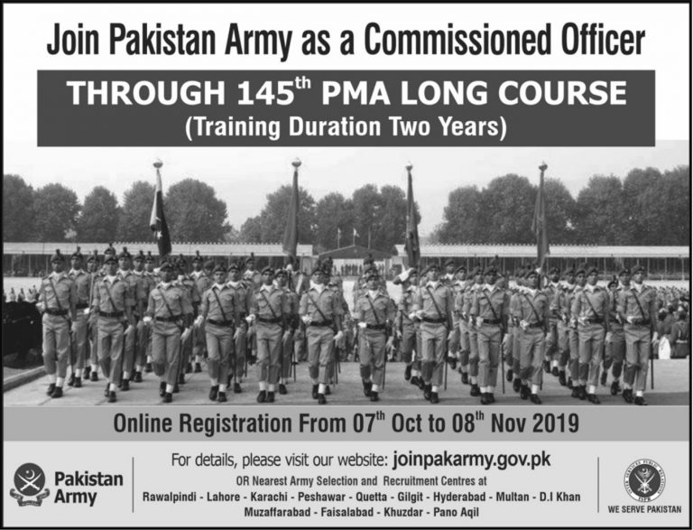 Join Pak Army through 145 PMA Long Course 2019 as Commissioned Officer Online Registration Latest Advertisement