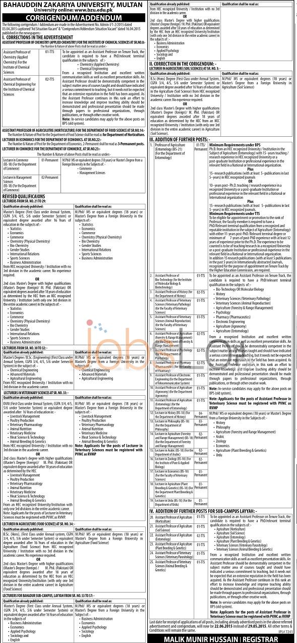 Bahauddin Zakariya University BZU Multan jobs 2015 May 29 Advertisement