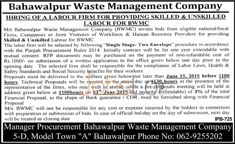 Bahawalpur Waste Management Company Jobs 2015 May 28 Advertisement