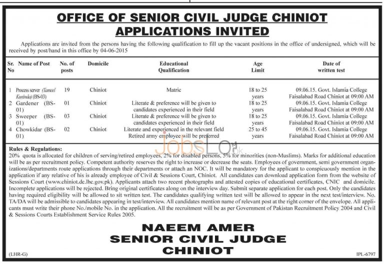 Jobs in Civil Court Chiniot 2015 for Process Server BS-03