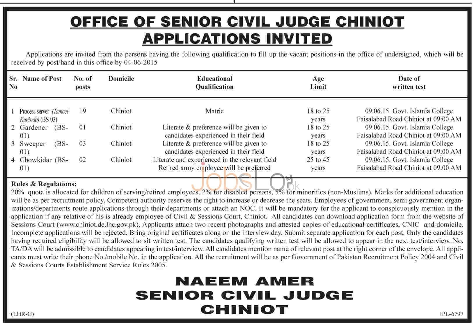 Civil Court Chiniot Jobs