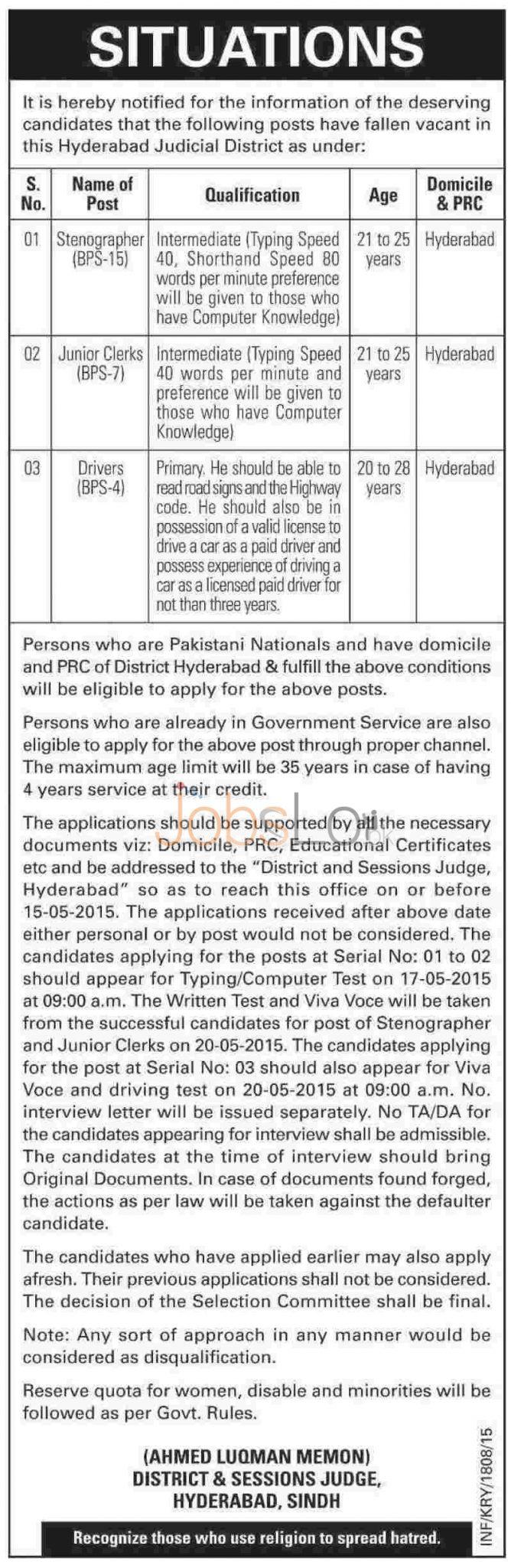 District & Session Court Hyderabad Sindh Jobs