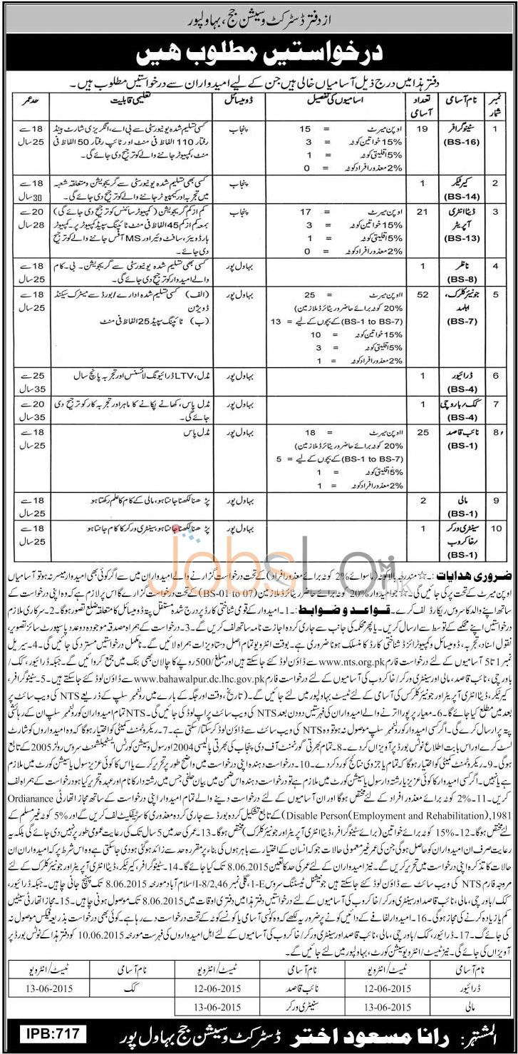 District & Session Court Bahawalpur Jobs