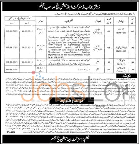 District and Session Court Jhelum Jobs