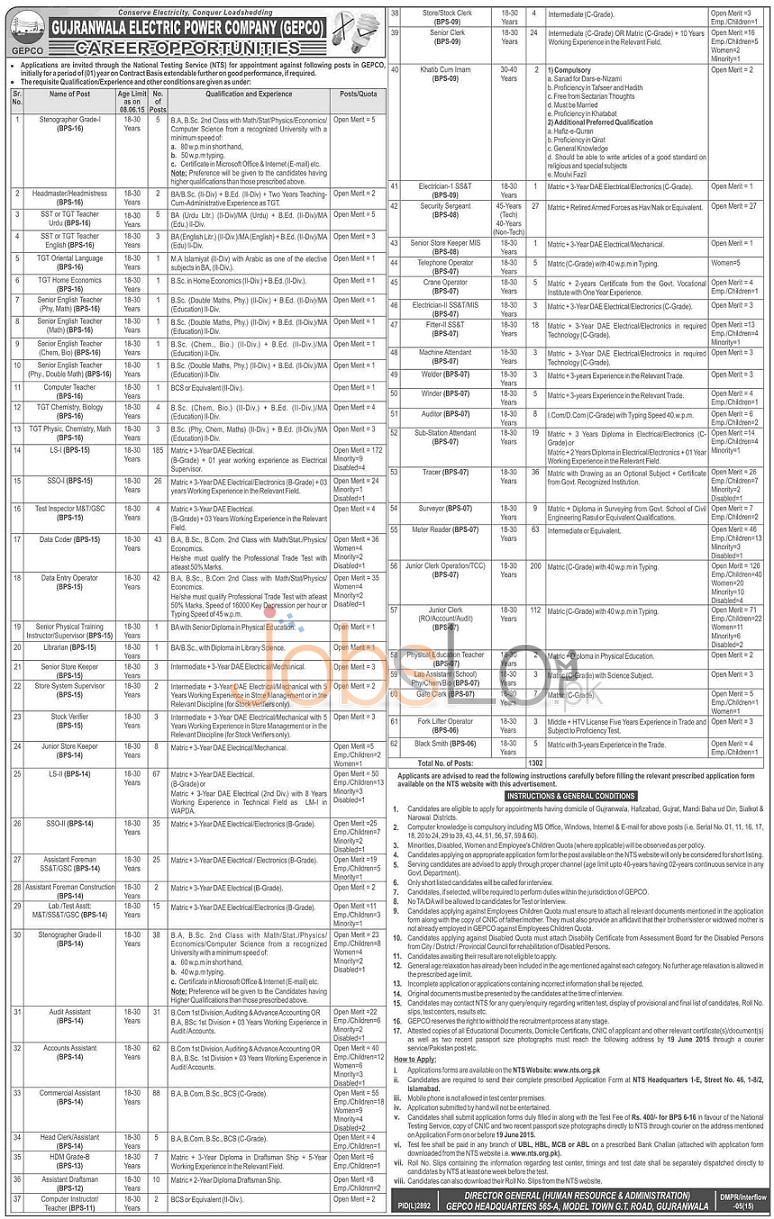 Gujranwala Electric Power Company GEPCO Jobs 2015 May 28 NTS Form
