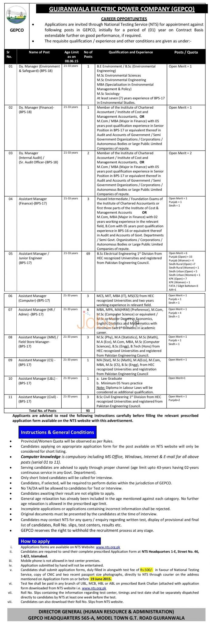 GEPCO WAPDA NTS Jobs 2015 May 28 Advertisement