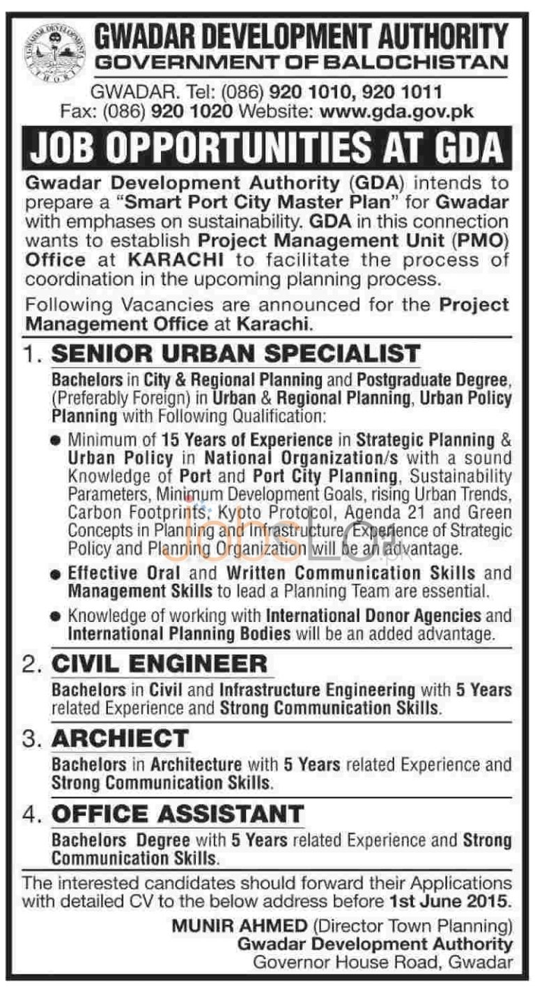 Job Opportunities at GDA 2015 for Civil Engineer, Architect and Office Assistant