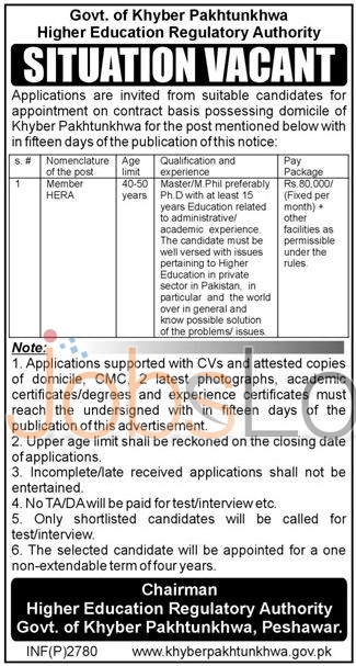 Higher Education Regulatory Authority KPK Jobs