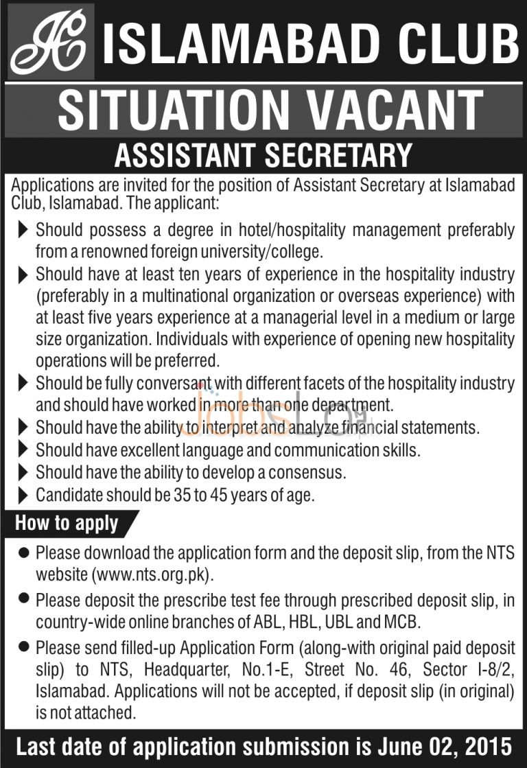 Islamabad Club Jobs 2015 for Assistant Secretary NTS Application Form