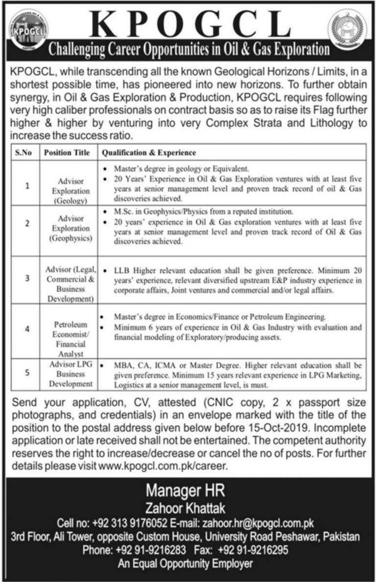KPOGCL Jobs 2019 Khyber Pakhtunkhwa Oil & Gas Company Limited Latest Advertisement