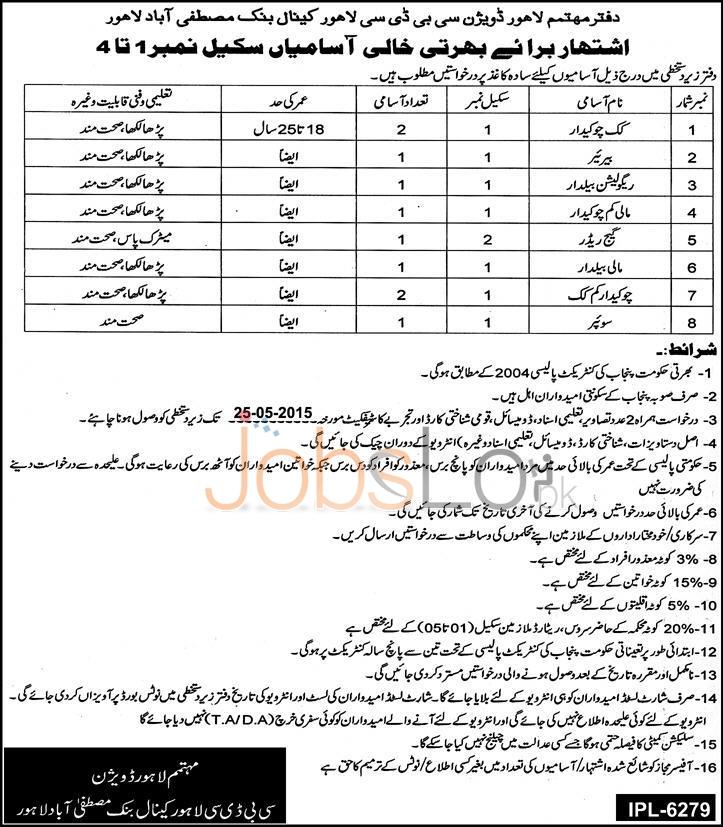Irrigation Department Punjab Jobs 2015 for Matric & Under Matric