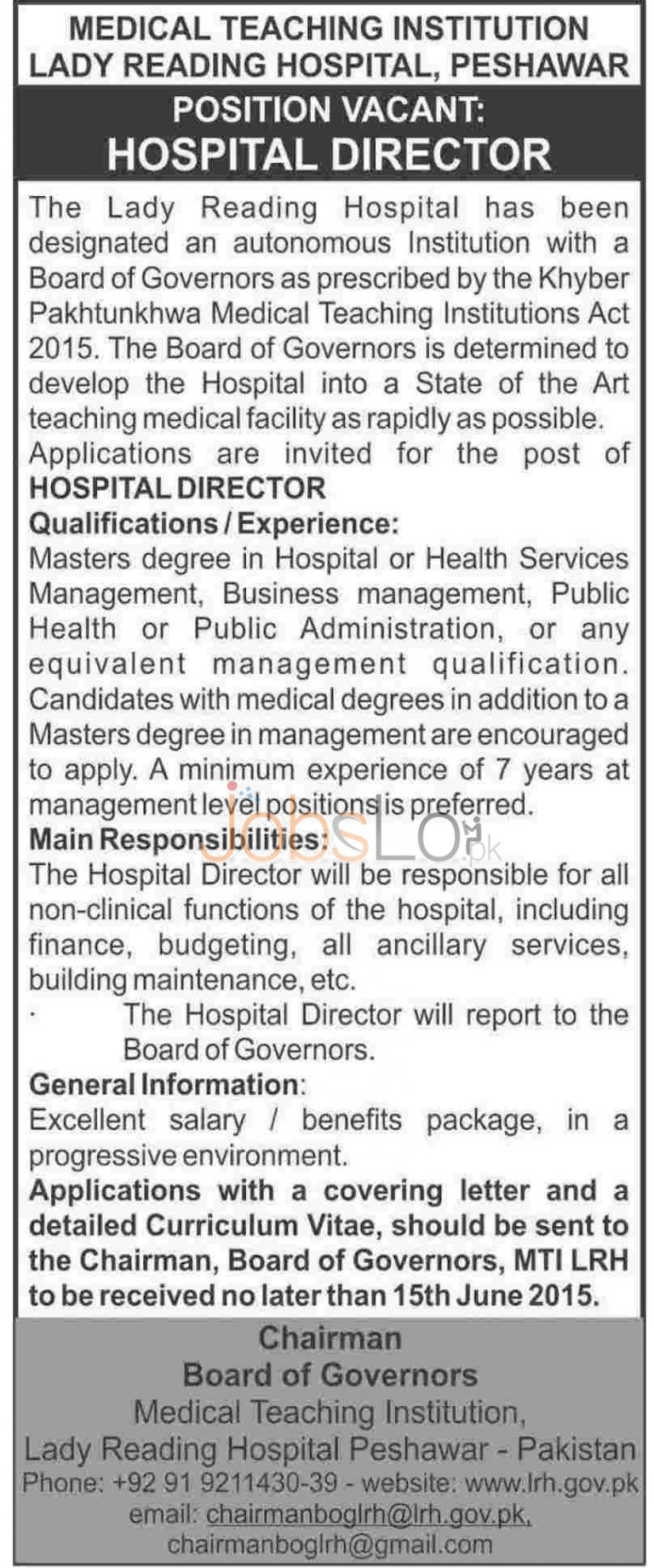 Govt Lady Reading Hospital Peshawar Jobs 2015 May 30 Advertisement