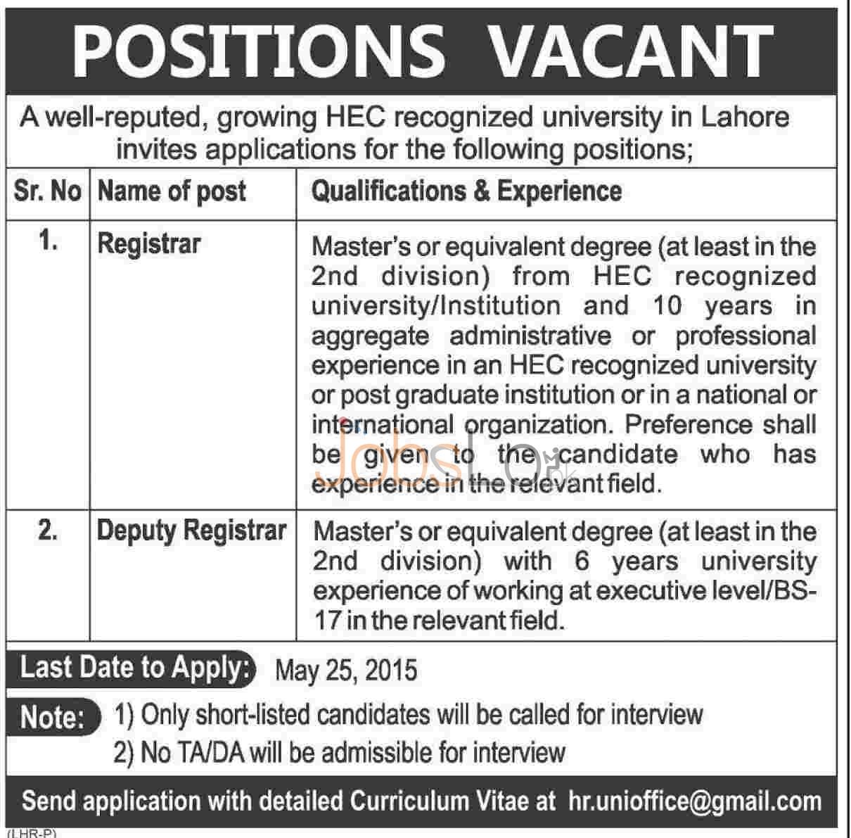Registrar Jobs in Lahore 2015 Apply Online