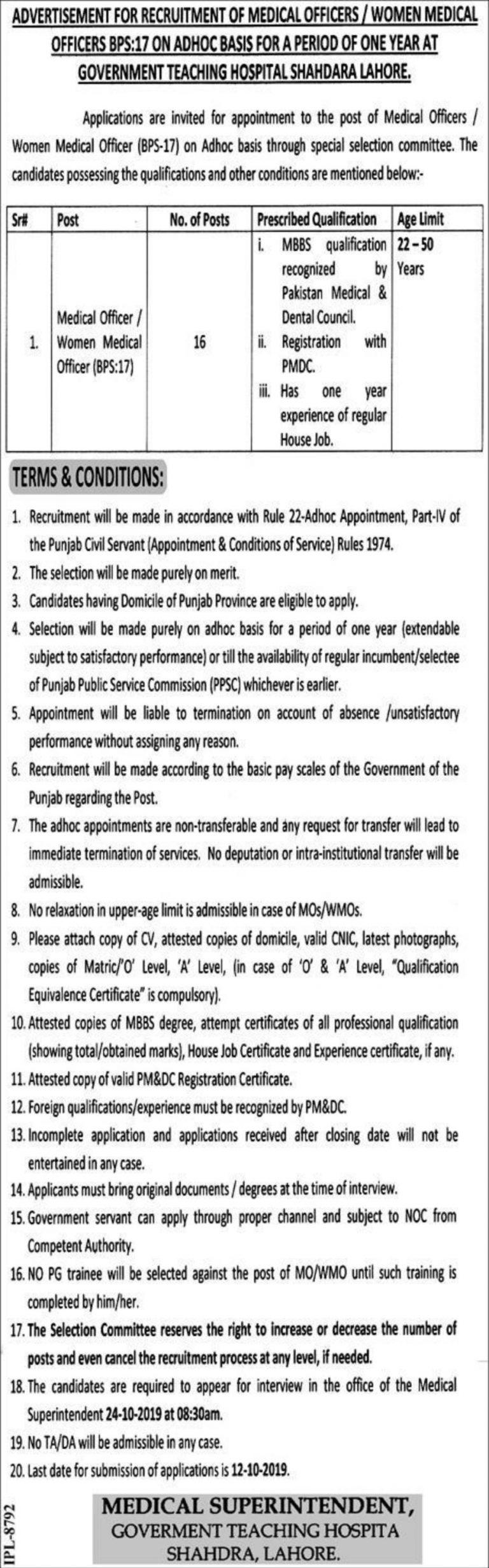 Govt Teaching Hospital Shahdara Lahore Jobs 2019 Punjab Test & Interview Date
