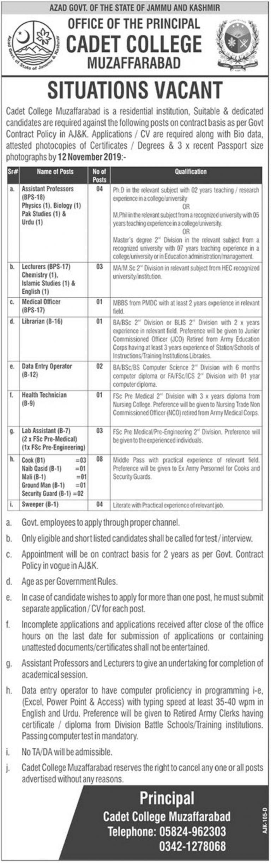 Cadet College Muzaffarabad Jobs 2019 AJK Latest Advertisement