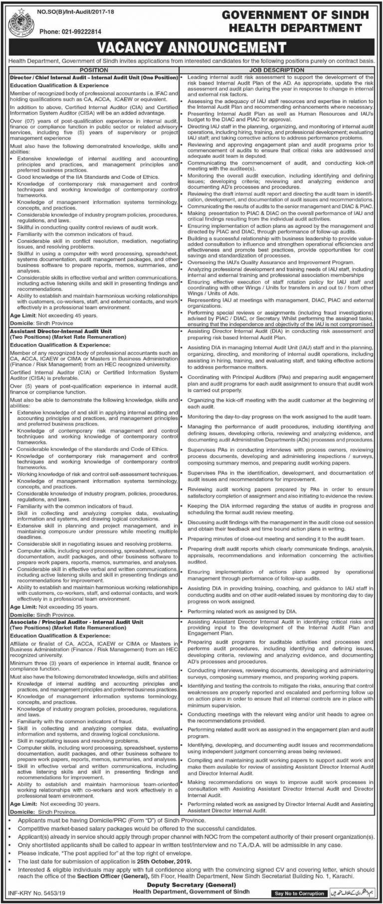 Health Department Sindh Jobs 2019 Karachi Current Openings Last Date