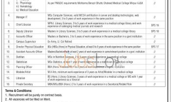 Latest Jobs 2015 in Benazir Bhutto Medical College Mirpur